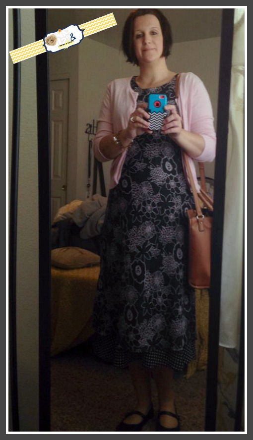 Pink Sweater, Black Dress with Pink Flower Print & Black Shoes purchased at the DI (local thrift store) Bag Purchased at Target