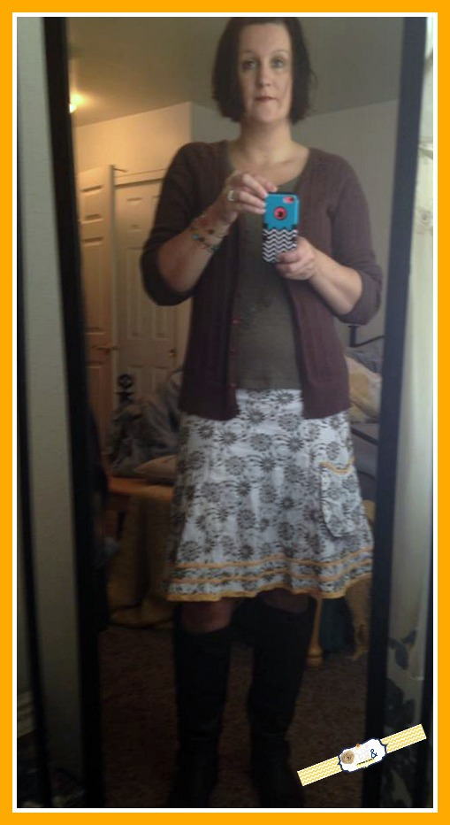 Brown Sweater, Green Shirt, Green, White Yellow Printed skirt purchased at local thrift store (Dessert Industries) Knee High Boots purchased at Deb