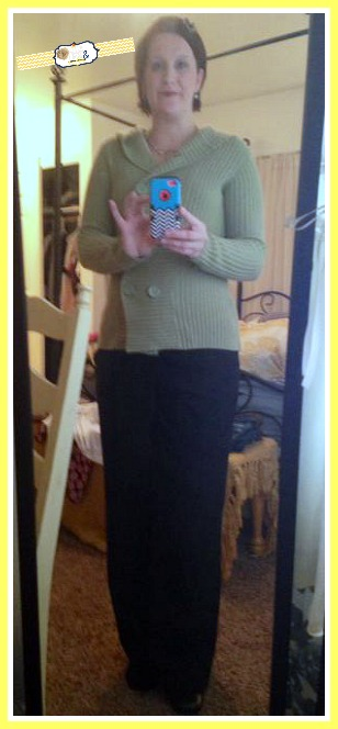 Green Sweater from Desert Industries, Black Pants from Deb, Black Shoes from idaho youth Ranch