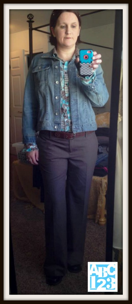 Today I wore my Denim Jacket fromTarget, Brown/ Teal blouse and brown pants purchased at the Idaho Youth Ranch, belt from Target and Shoes from Gig Harbor Goodwill