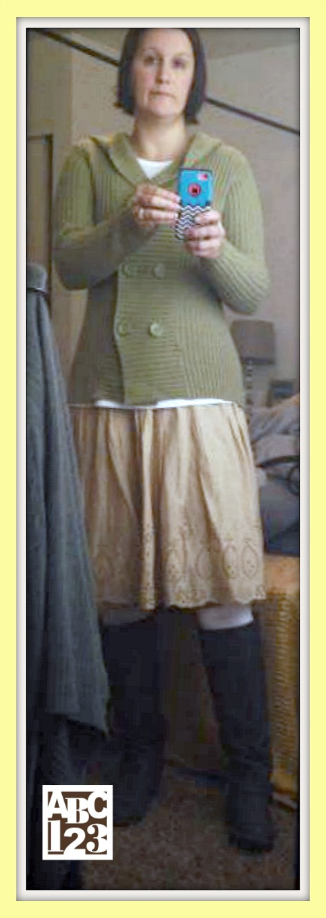 Green Sweater & Tan Skirt from Desert Industries, Boot Socks from Target and Knee High Boots from Deb